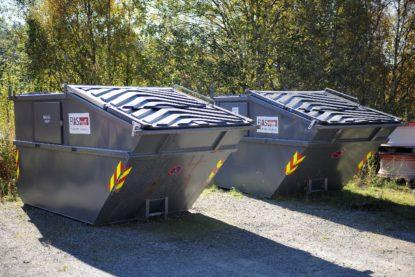 Bilde av to grå kombikontainere, profilert med FIAS Proff