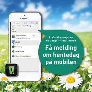 Bilde av en mobiltelefon som viser App'en MinRenovasjon