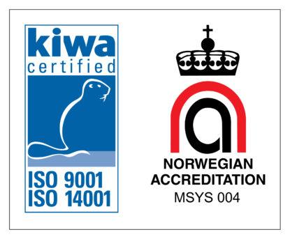 Logoen til Kiwa TI, godkjent av norsk akkreditering.