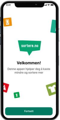 mobiltelefon med bilde av app'en
